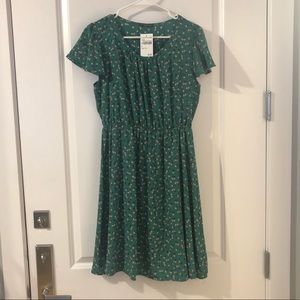 Brand New West Kei Dress. Green with Peach Pattern